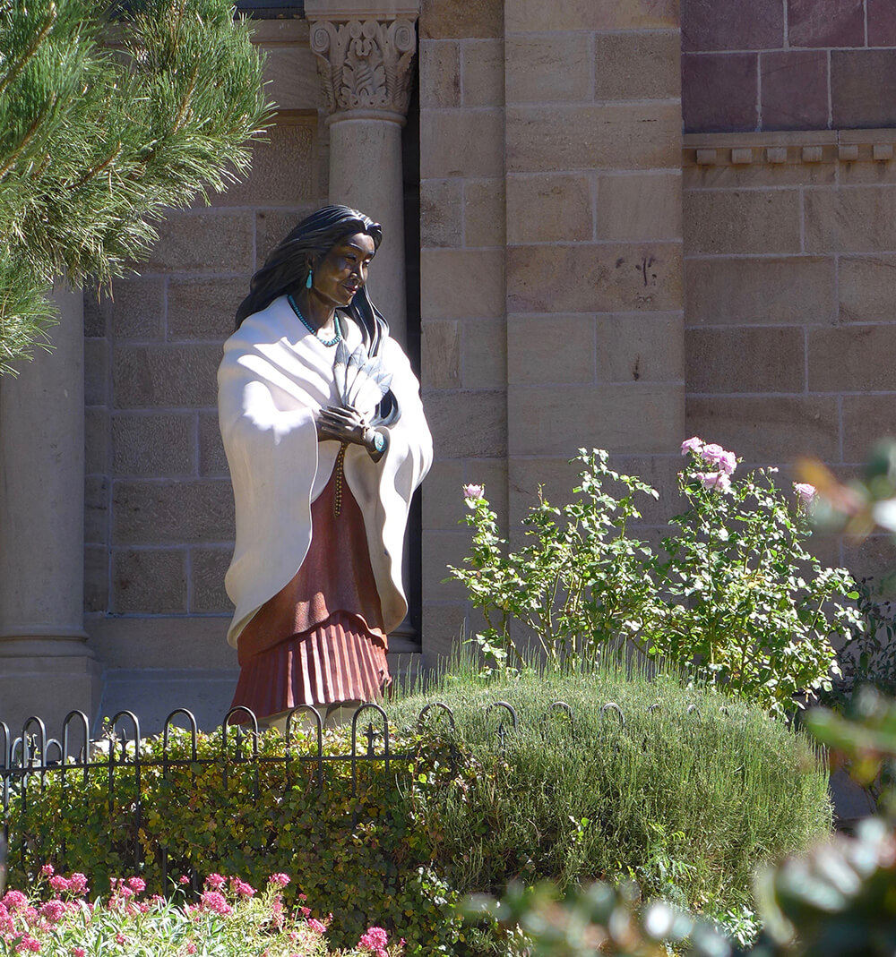 Statue at cathedral in Santa Fe