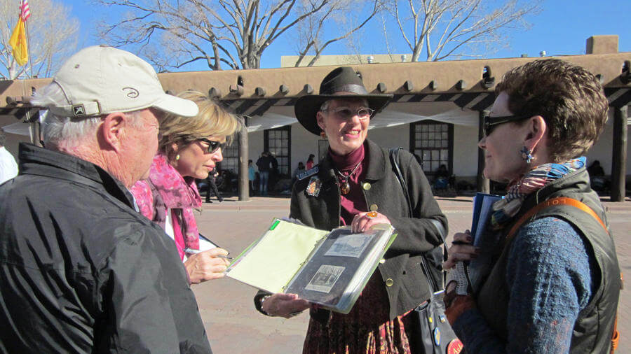 Walking tour participants in downtown Santa Fe